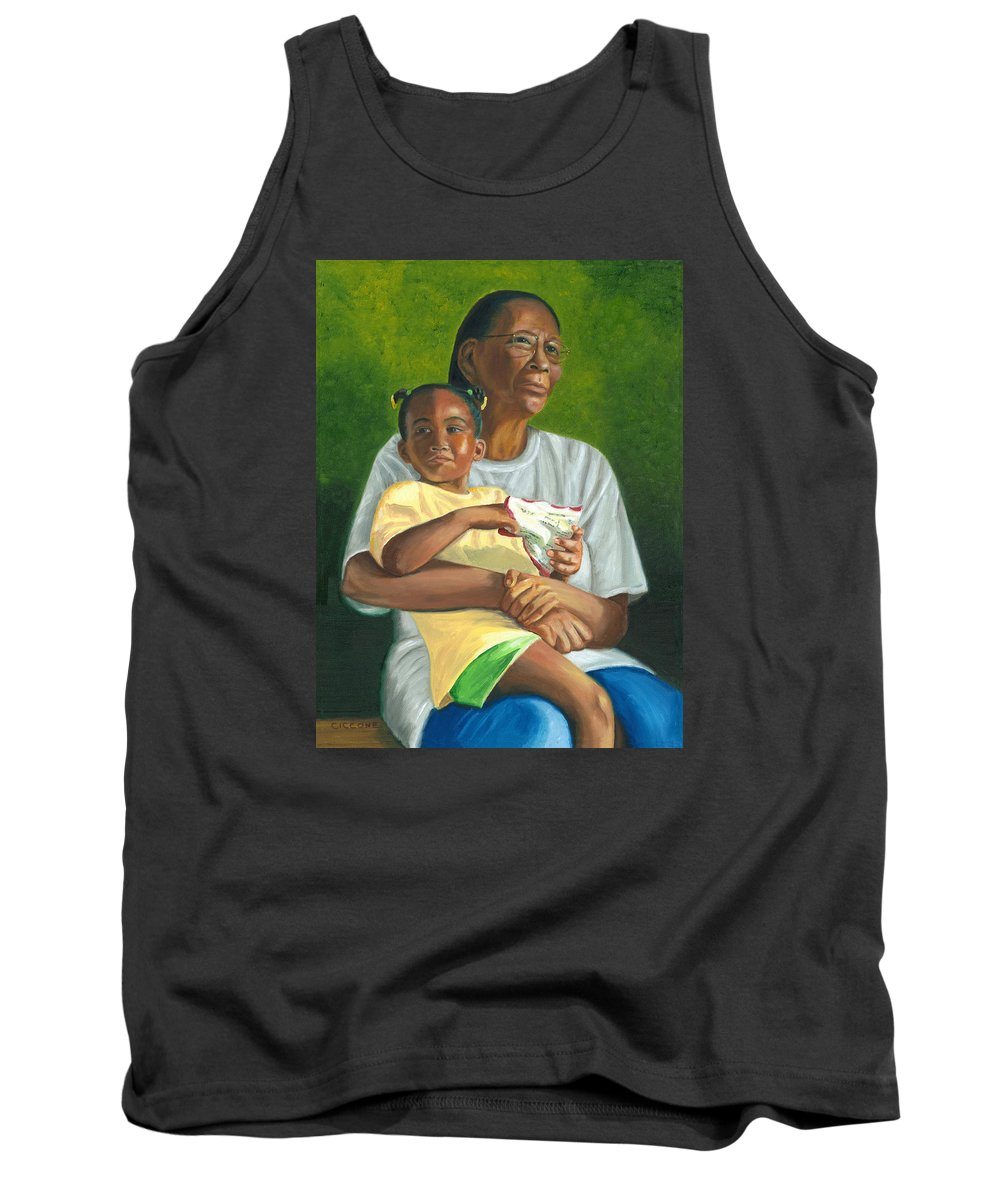 Family Tank Top featuring the painting Grandma's Lap by Jill Ciccone Pike