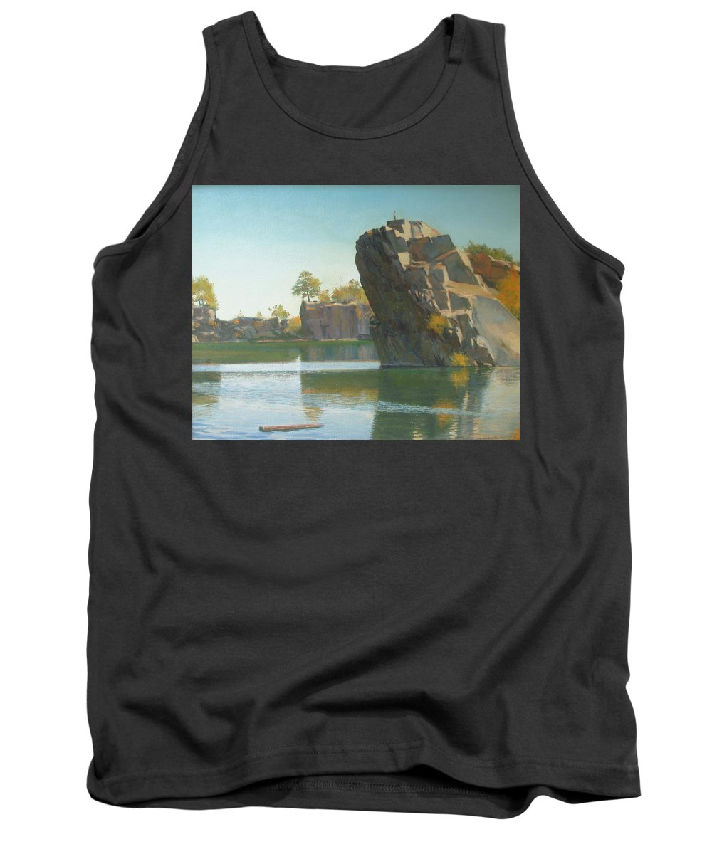 Quarry Tank Top featuring the painting Granite Rail Quarry by Dianne Panarelli Miller