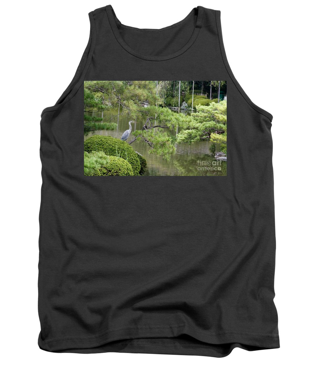 Blue Tank Top featuring the photograph Great Blue Heron In Pond Kyoto Japan by Thomas Marchessault