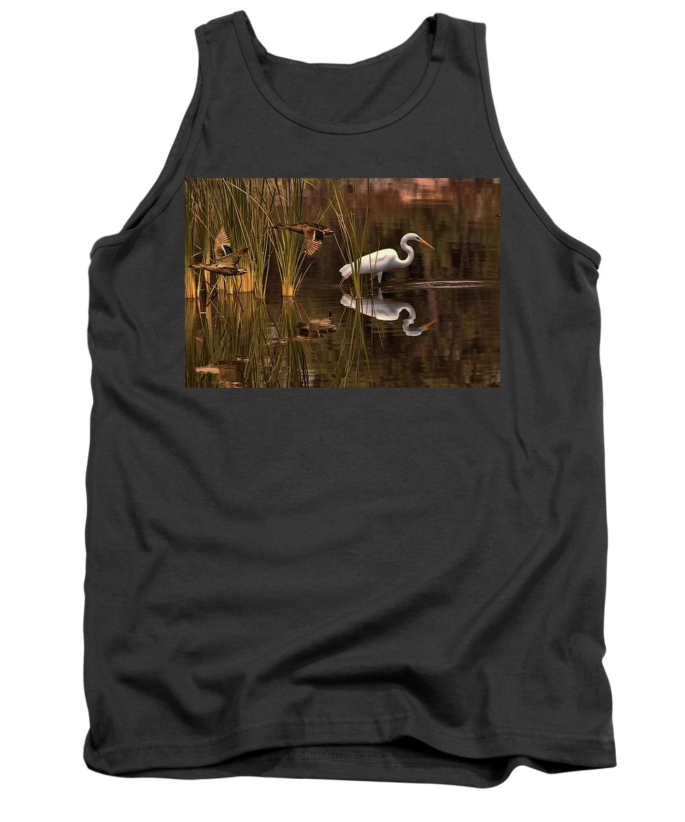 Bird Tank Top featuring the photograph Great White Egret And Mallard Flight Sunrise Reflection by Leslie Reagan - Joy To The Wild Photos