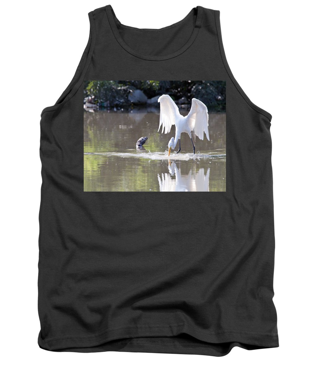 Great Blue Heron Photographs Tank Top featuring the photograph Great White Egret Fishing Sequence 4 by Vernis Maxwell
