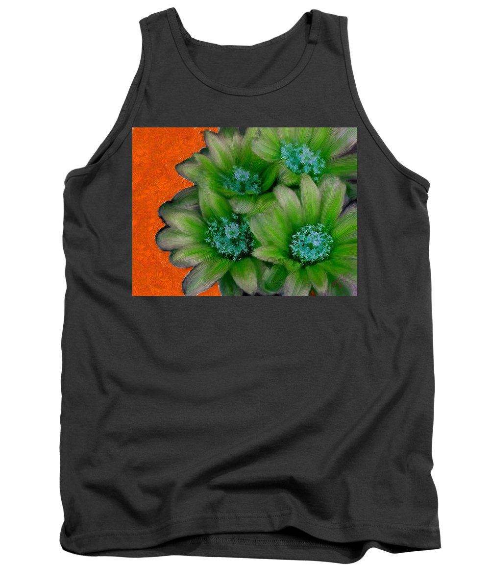 Green Cactus Flowers Tank Top featuring the painting Green Cactus Flowers by Bruce Nutting