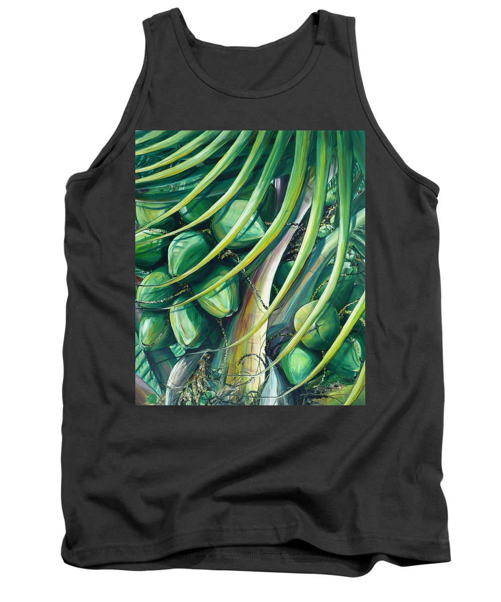 Coconut Painting Caribbean Painting Coconuts Caribbean Tropical Painting Palm Tree Painting  Green Botanical Painting Green Painting Tank Top featuring the painting Green Coconuts 2 by Karin Dawn Kelshall- Best