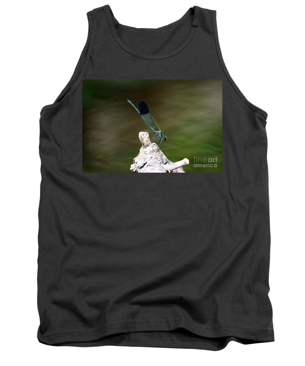 Damselfly Tank Top featuring the photograph Green Damselfly by Neal Eslinger