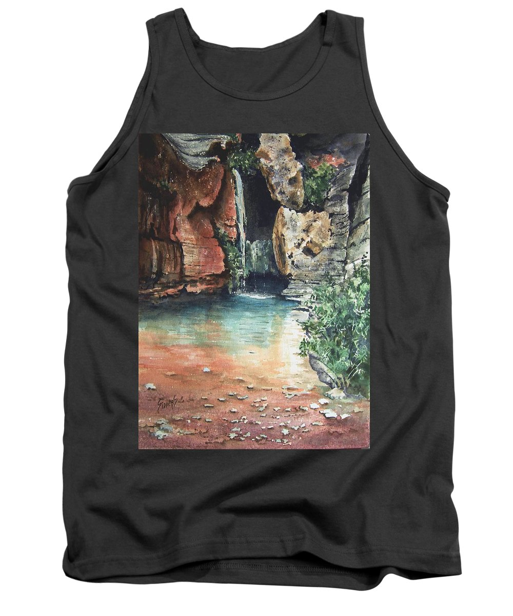 Waterfall Tank Top featuring the painting Green Falls by Sam Sidders