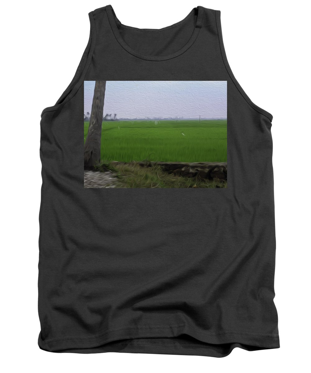 Blue Tank Top featuring the digital art Green Fields With Birds In Kerala by Ashish Agarwal