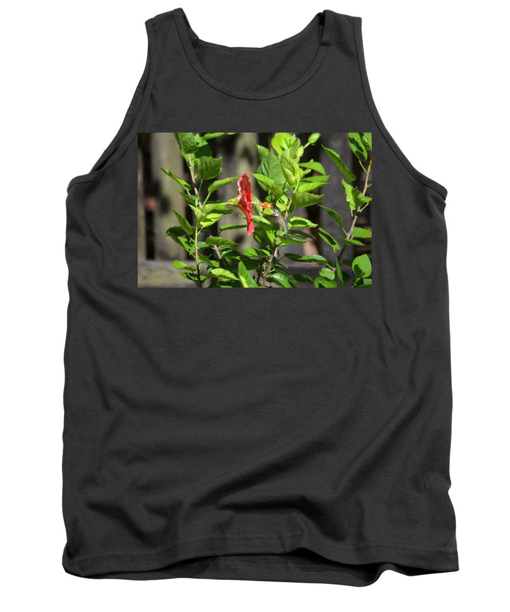Green Tank Top featuring the photograph Green Hummingbird On Red Hibiscus Flower 5 Of 10 by Jeff at JSJ Photography