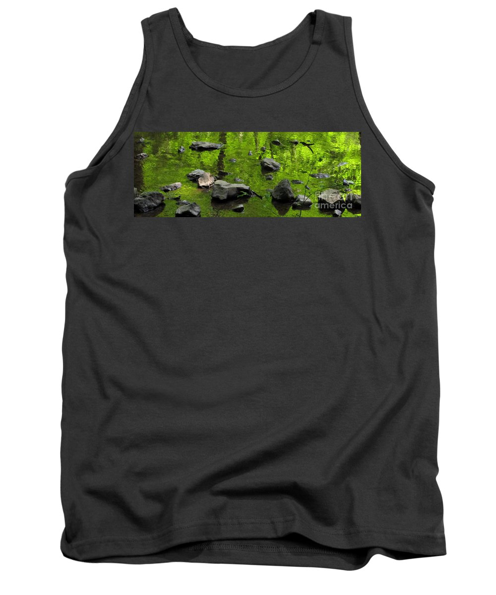 Green Stream Reflections Waterscapes Streamscapes Green Creek Green Brook Forest Reflections Woodland Stream Water Reflection Waterscapes Aquascapes Water Art H2o Tank Top featuring the photograph Green Stream by Joshua Bales