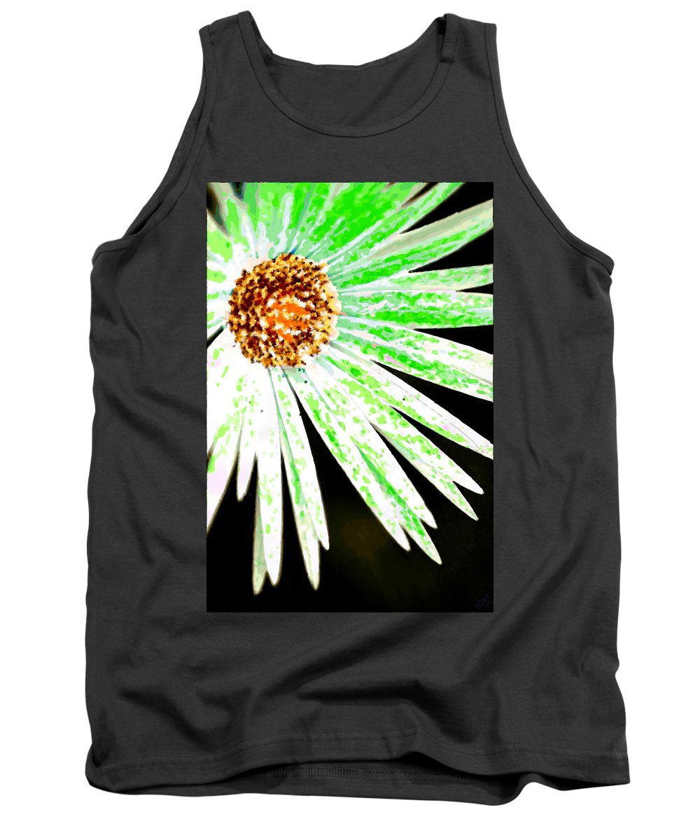 Flower Tank Top featuring the painting Green Vexel Flower by Bruce Nutting