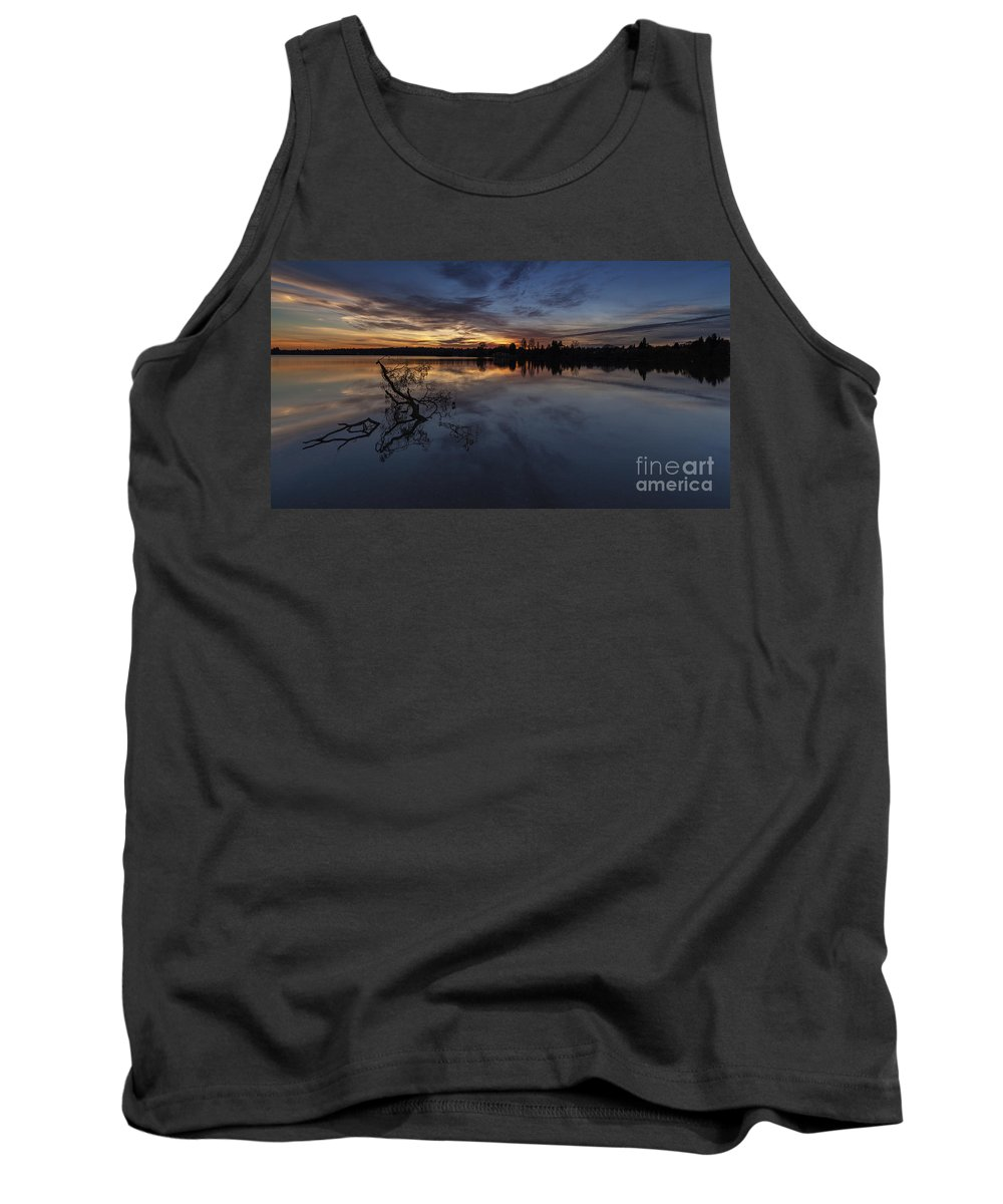 Greenlake Tank Top featuring the photograph Greenlake Sunset With A Fallen Tree by Mike Reid