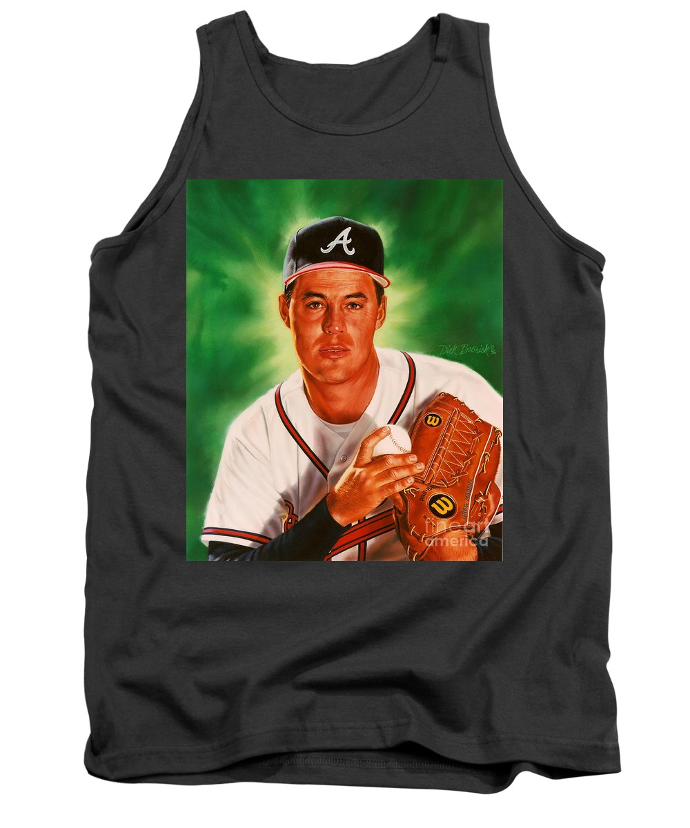 Sports Tank Top featuring the painting Greg Maddux by Dick Bobnick