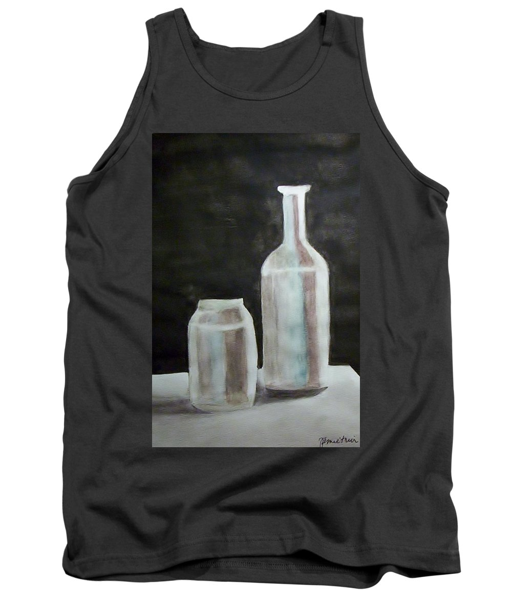 Grey Tank Top featuring the painting Grey Bottles by Jamie Frier
