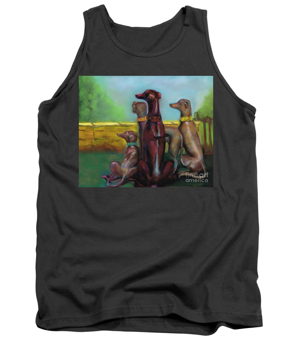 Greyhound Tank Top featuring the painting Greyhound Figurines by Frances Marino