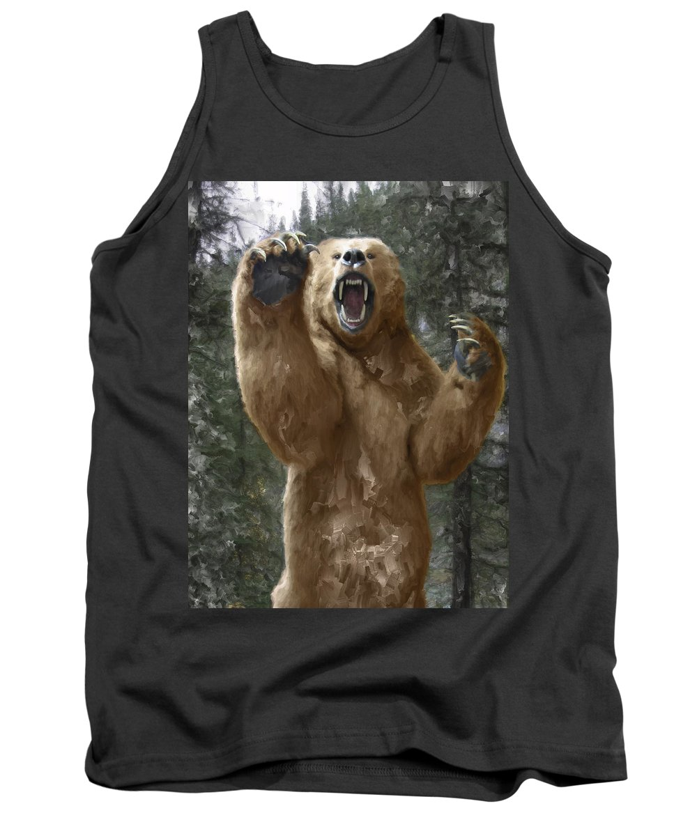 Bear Tank Top featuring the digital art Grizzly Bear Attack On The Trail by Daniel Hagerman