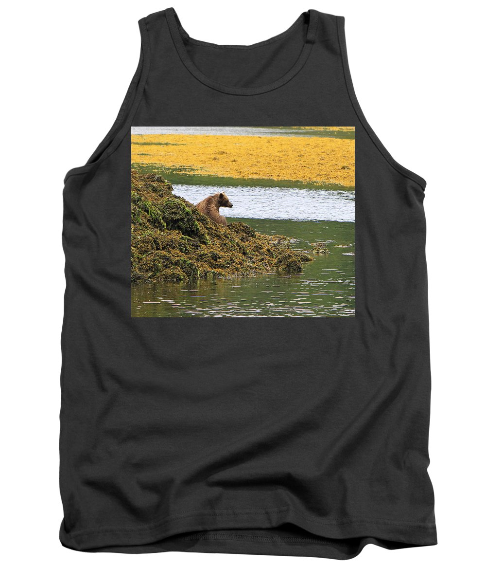 Bear Tank Top featuring the photograph Grizzly Relaxing by Shoal Hollingsworth