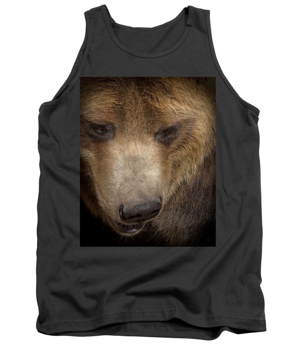 Bear Tank Top featuring the photograph Grizzly Upclose by Ernie Echols