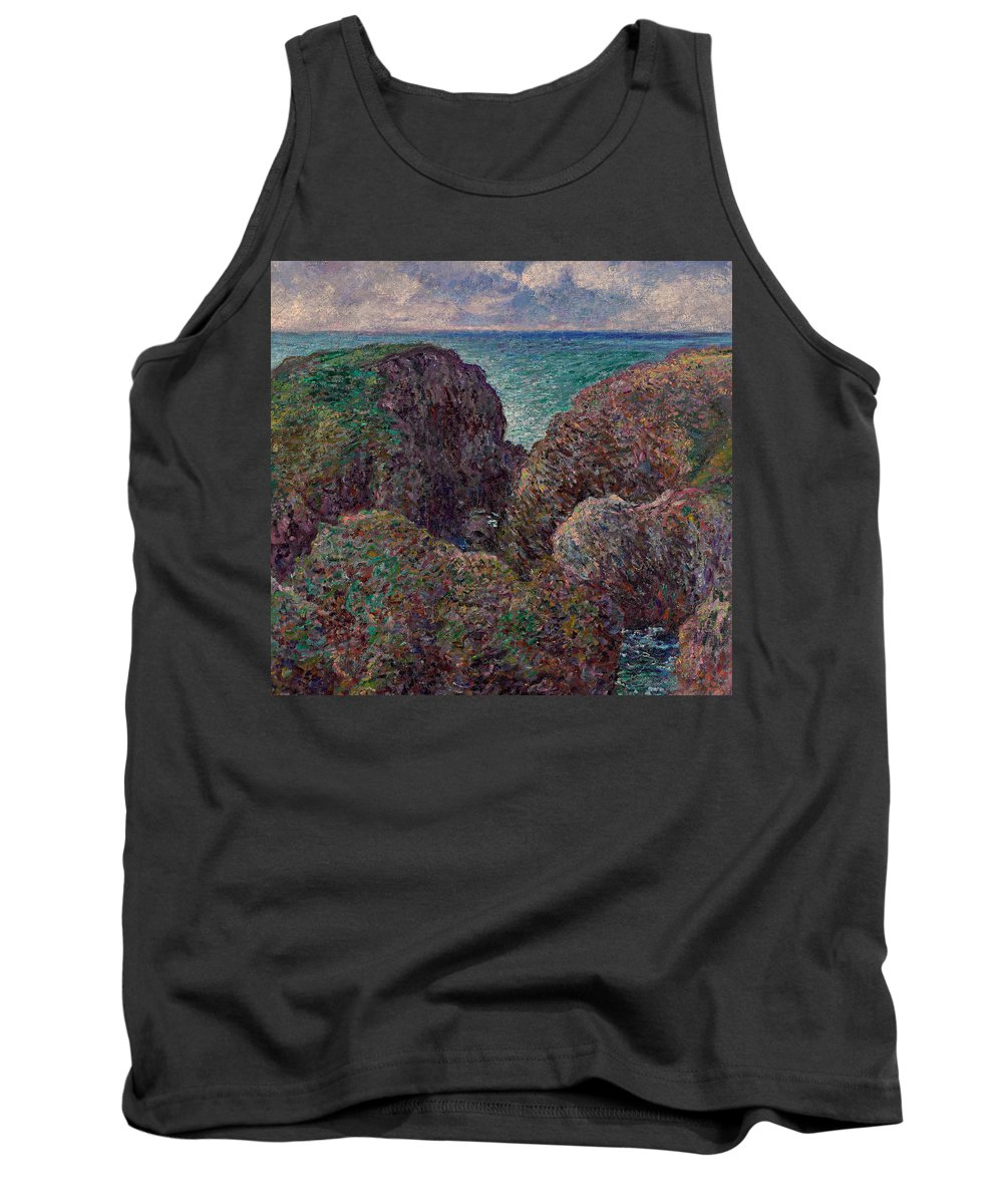 Monet Tank Top featuring the painting Group Of Rocks At Port Goulphar by Claude Monet