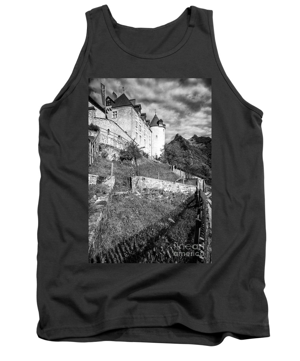 Leysin Tank Top featuring the photograph Gruyeres Castle Bw by Timothy Hacker