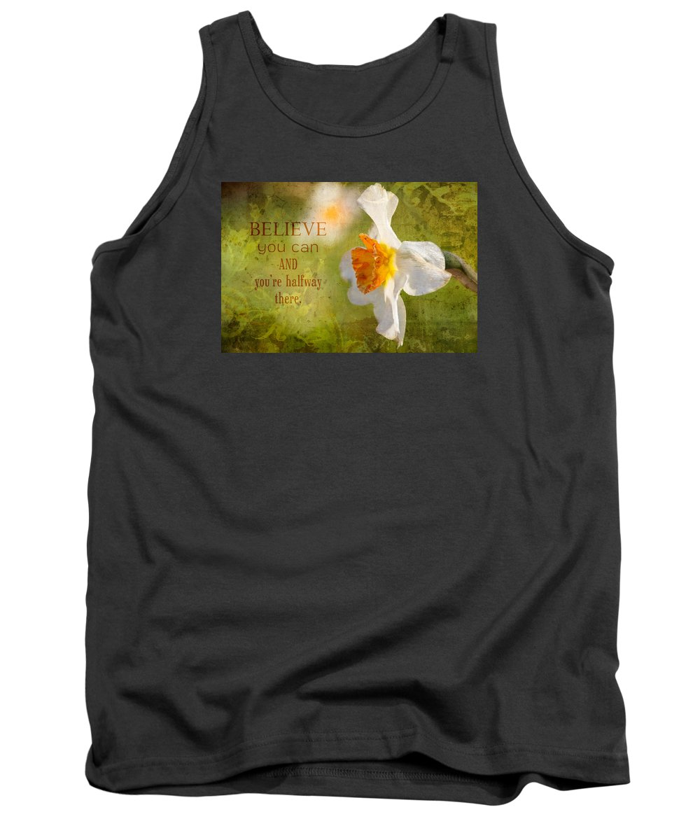 Flower Artwork Tank Top featuring the photograph Halfway There With Message by Mary Buck