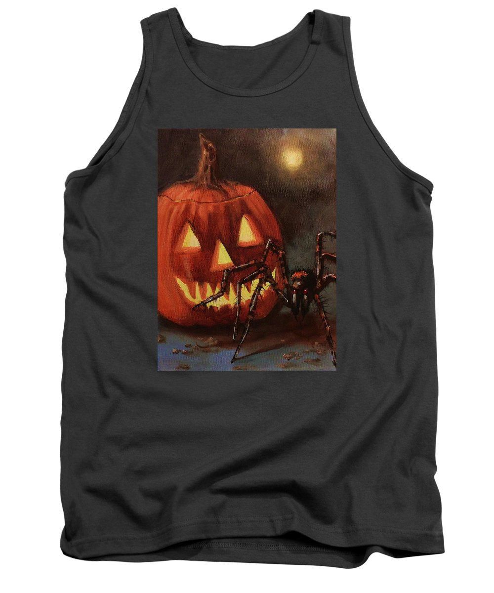 Halloween Tank Top featuring the painting Halloween Spider by Tom Shropshire