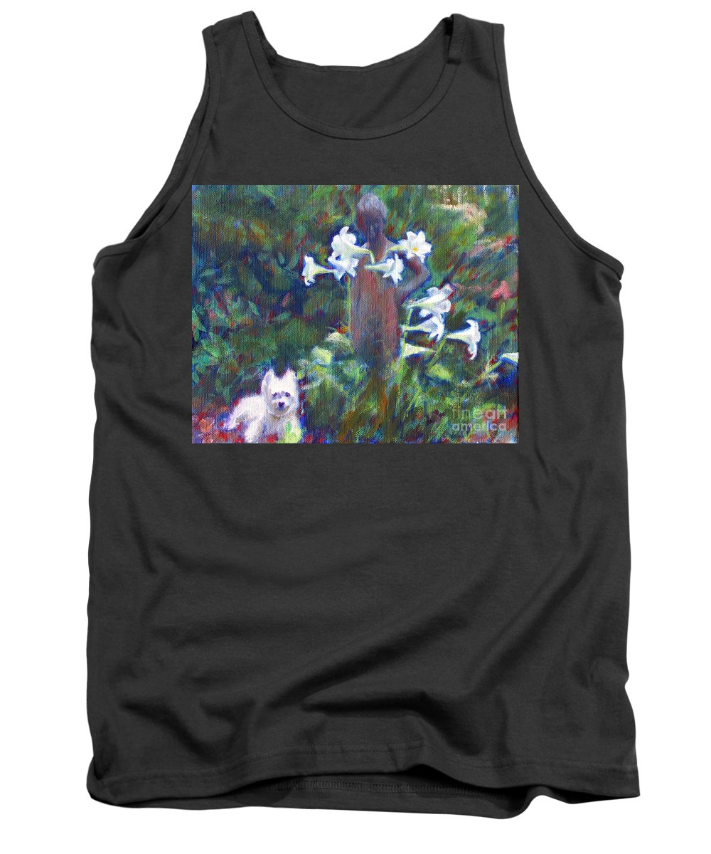 Dog Tank Top featuring the painting Hamilton In The Garden by Candace Lovely