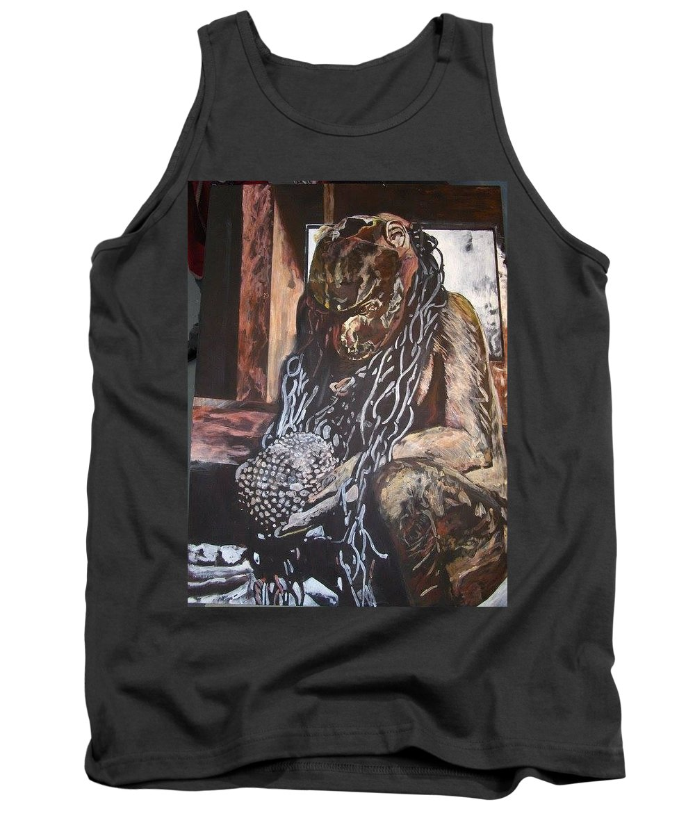 Hanuman Tank Top featuring the painting Hanuman In Chains by Michael African Visions