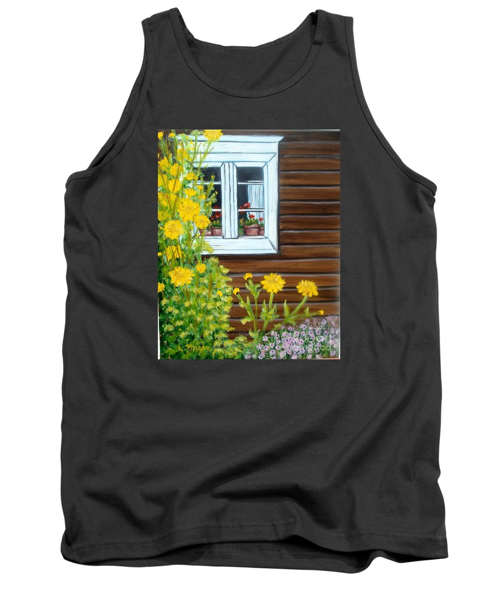 Window Tank Top featuring the painting Happy Homestead by Laurie Morgan