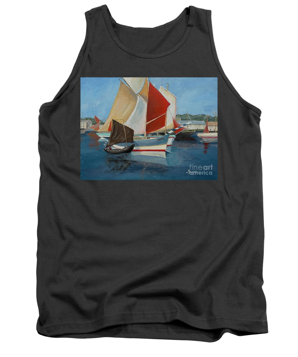 Sails Tank Top featuring the painting Harbor Sails by Anthony Dunphy