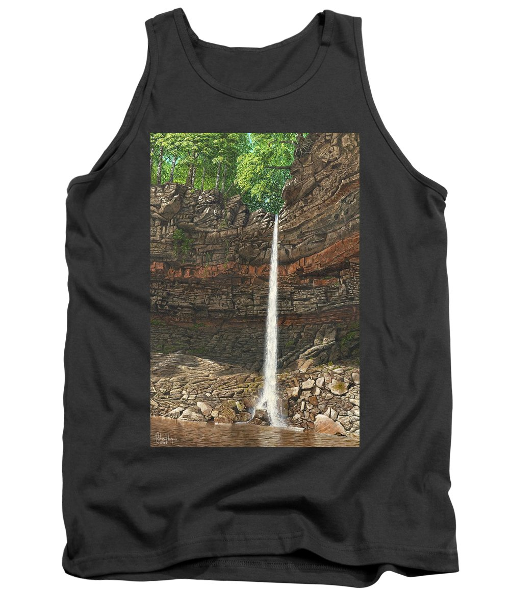 Hardraw Force Tank Top featuring the painting Hardraw Force Yorkshire by Richard Harpum
