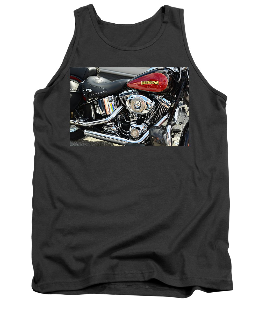 Harley Davidson America American Classic Usa Motorcycle Chrome Pipes Engine Select Color Red Black And White Monochrome Bike Red Tank Black Leather Tassel Logo Soft Tail Flathead Hog Hogs Motorcycles Motorbike Motorbikes Laura Fasulo Gift For Biker Rider Bike Lover Harley Davidson Monochrome Made In The Usa Iphone Samsung Galaxy Case Tank Top featuring the photograph Harley Chrome by Laura Fasulo
