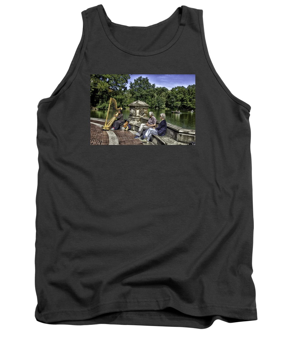 Harp Tank Top featuring the photograph Harpist - Central Park by Madeline Ellis