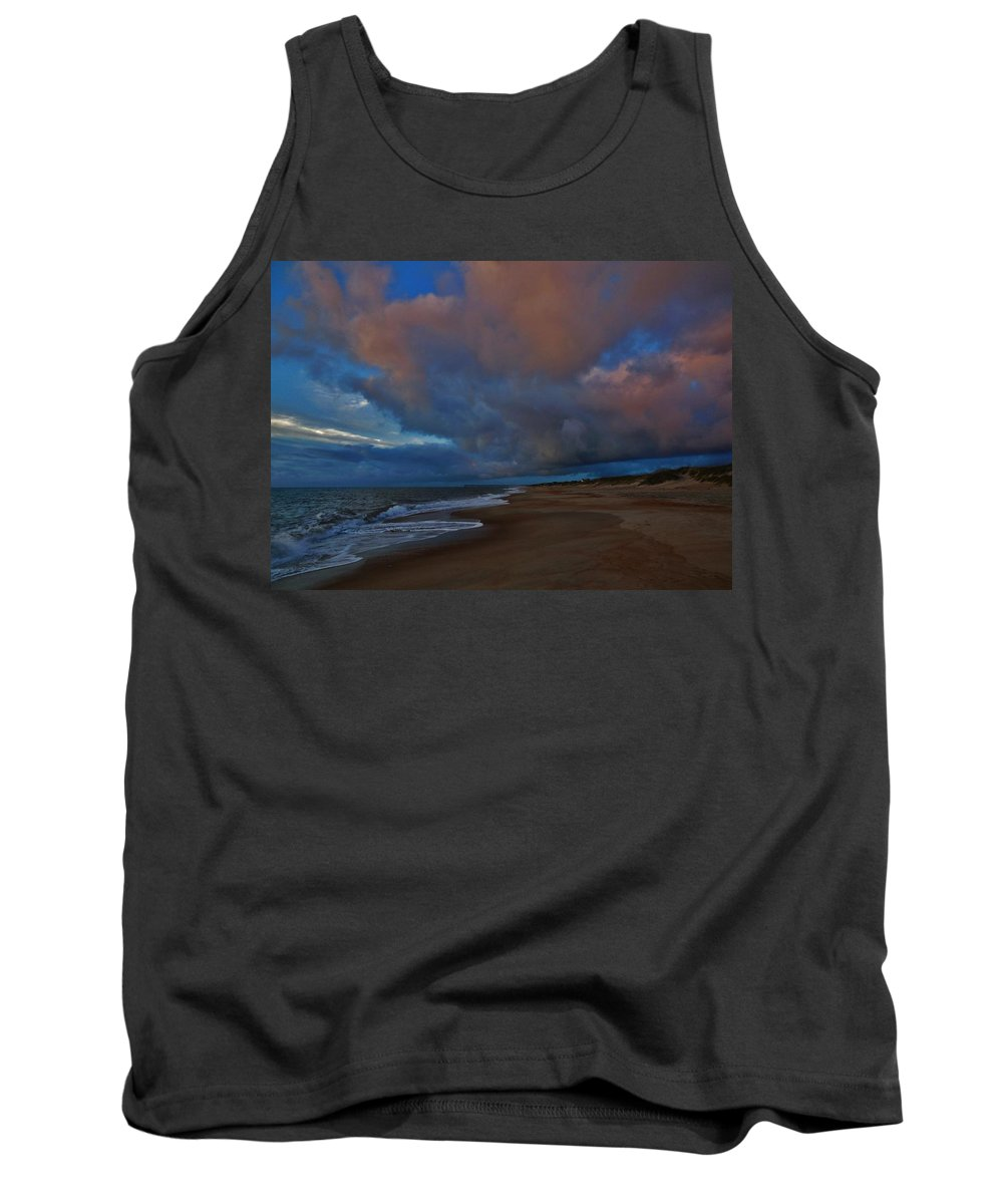 Mark Lemmon Cape Hatteras Nc The Outer Banks Photographer Subjects From Sunrise Tank Top featuring the photograph Hatteras Island Sunrise 1 9/10 by Mark Lemmon