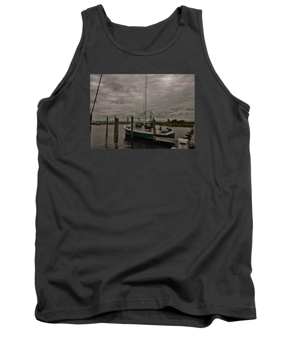Outer Banks North Carolina Obx Hatteras Harbor Pamlico Sound Commercial Fishermen Boat Wooden Dock Tank Top featuring the photograph Hatteras Stormy Day 6/5 by Mark Lemmon