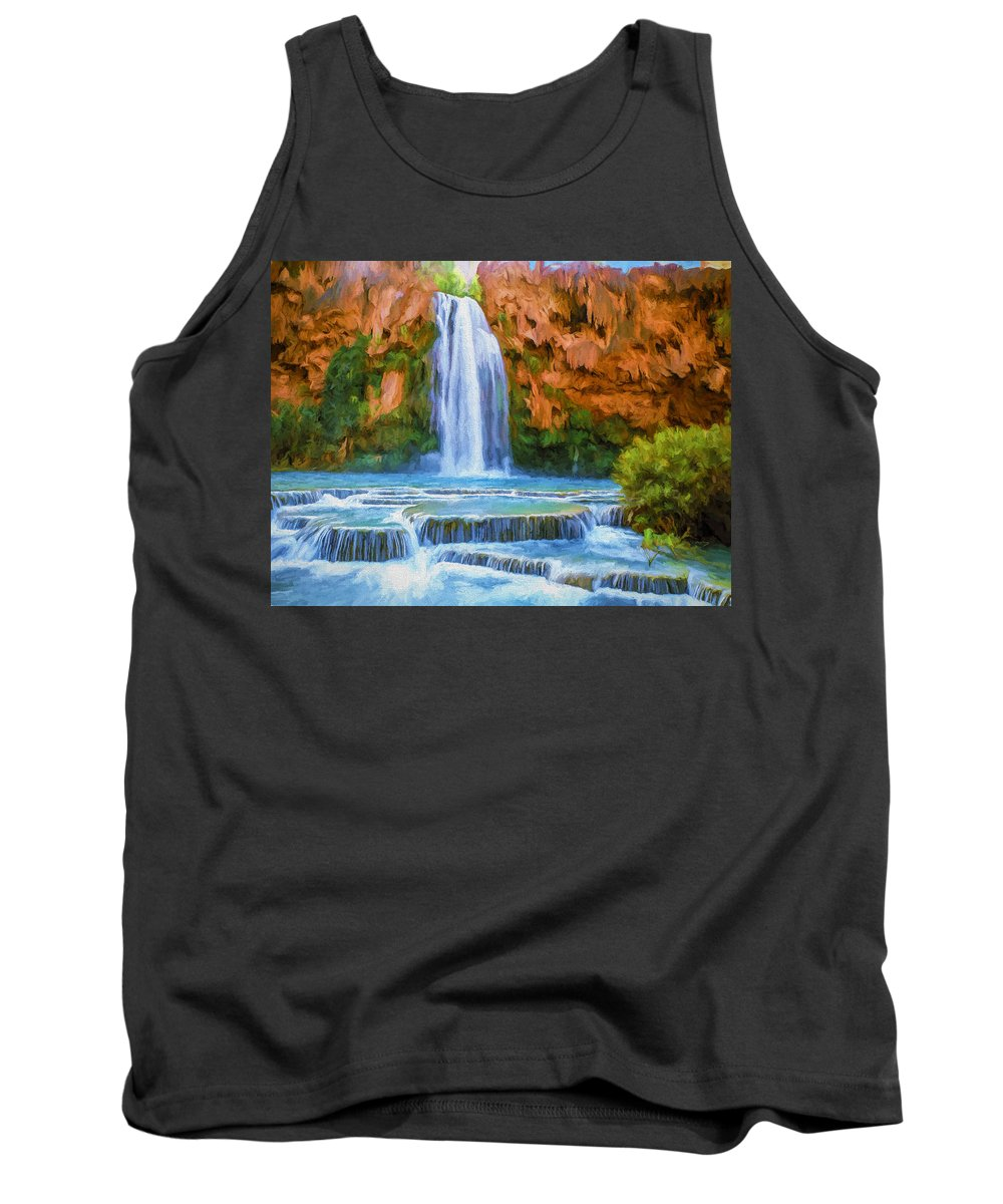 Fine Art Tank Top featuring the painting Havasu Falls by David Wagner