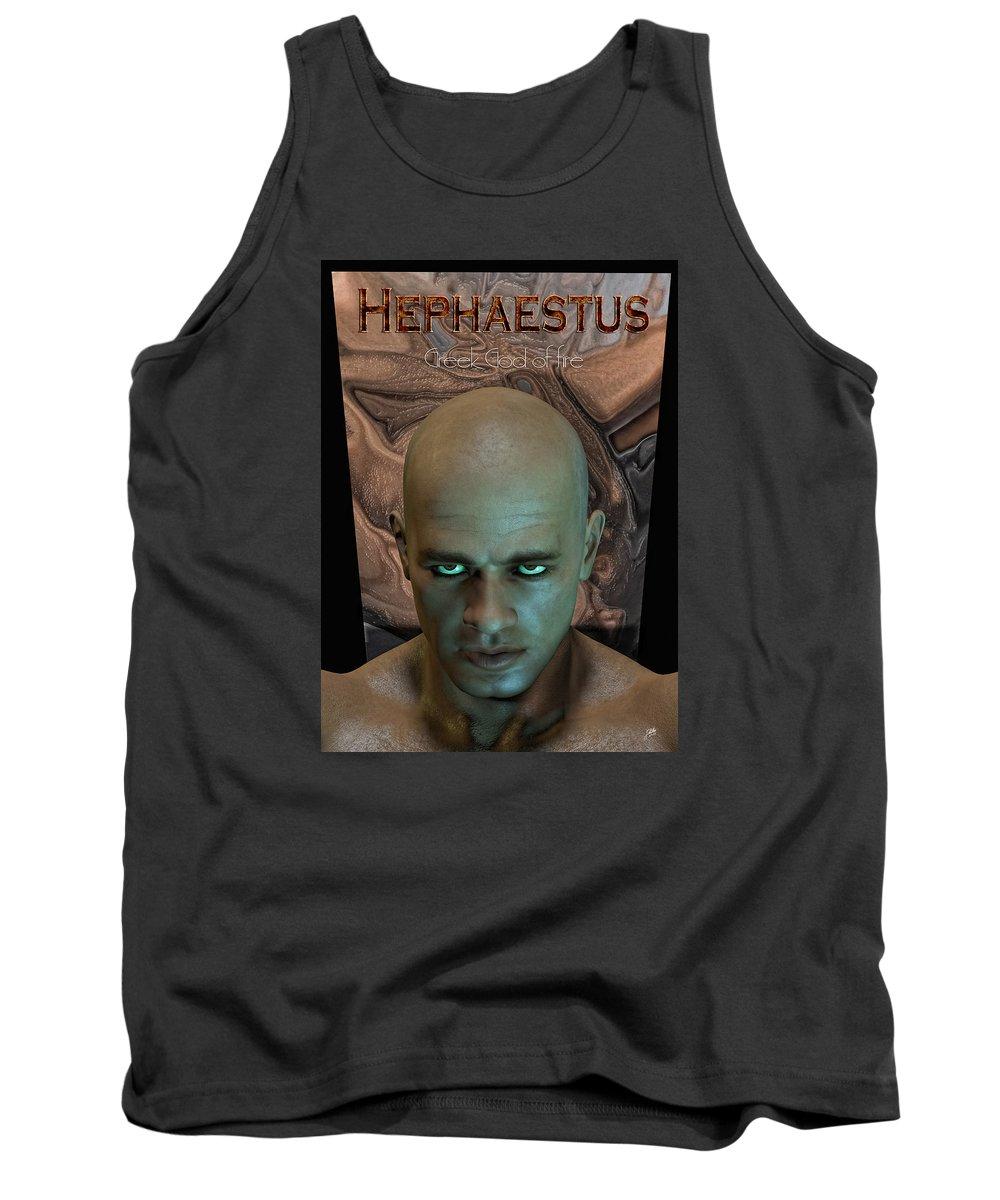 Hephaestus Tank Top featuring the digital art Hephaestus Vulcan by Quim Abella