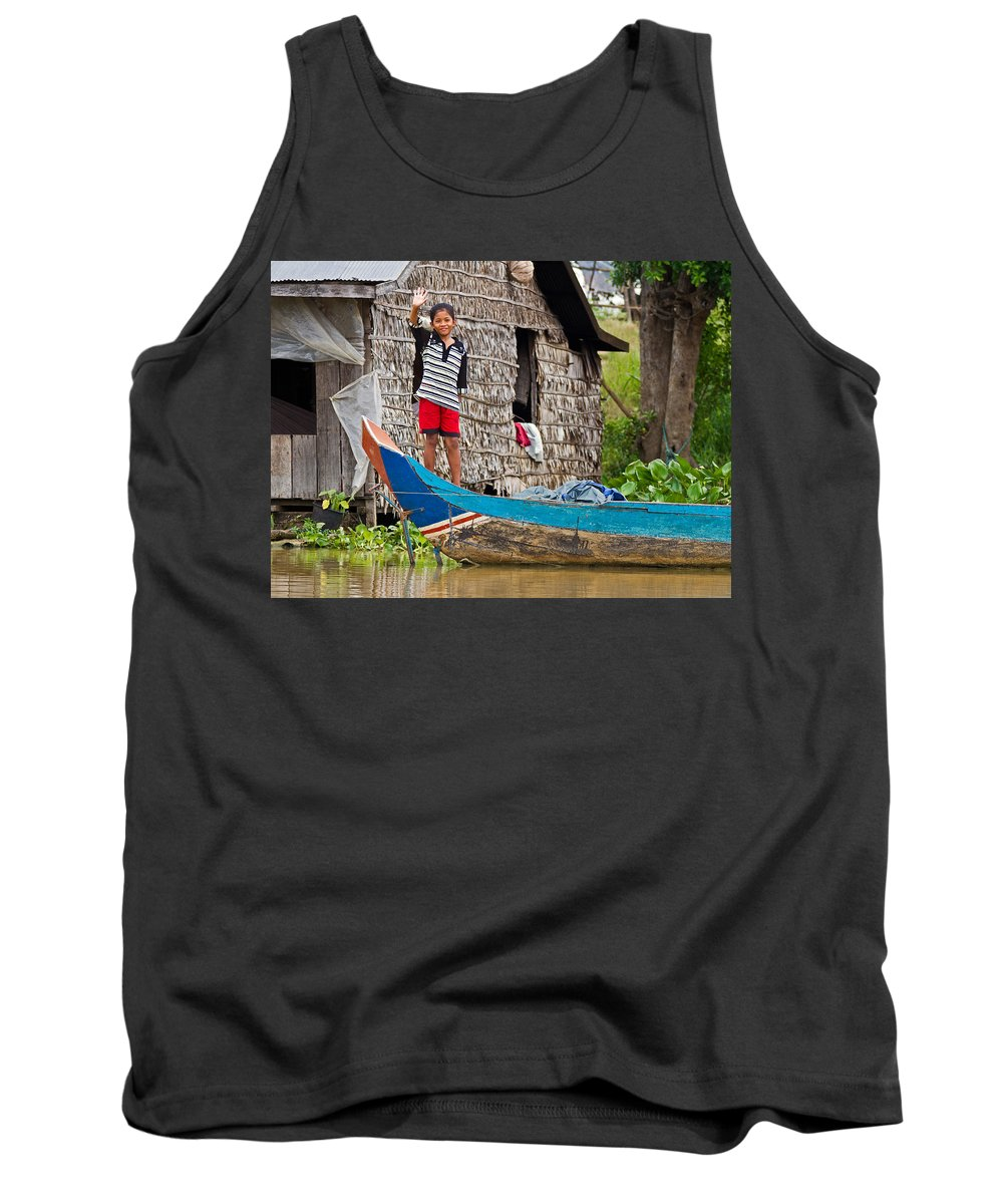 Cambodia Tank Top featuring the photograph Hello by David Freuthal
