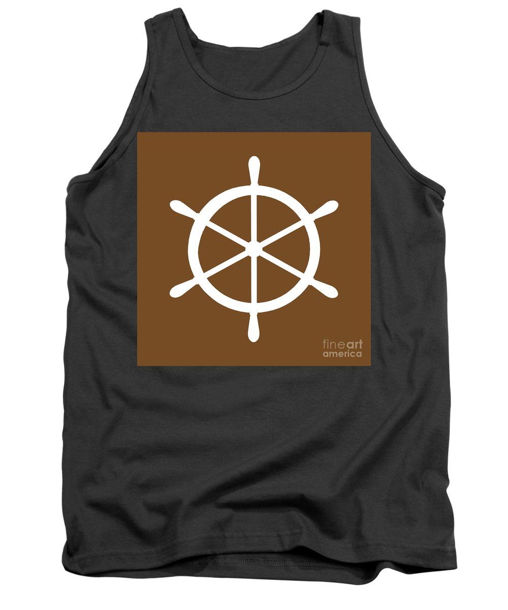 Graphic Art Tank Top featuring the digital art Helm In White And Brown by Jackie Farnsworth