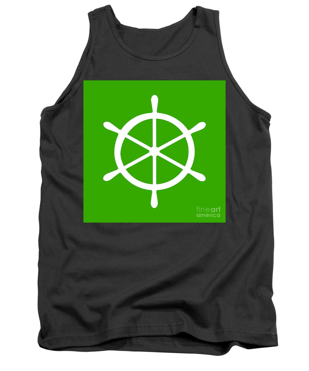 Graphic Art Tank Top featuring the digital art Helm In White And Green by Jackie Farnsworth