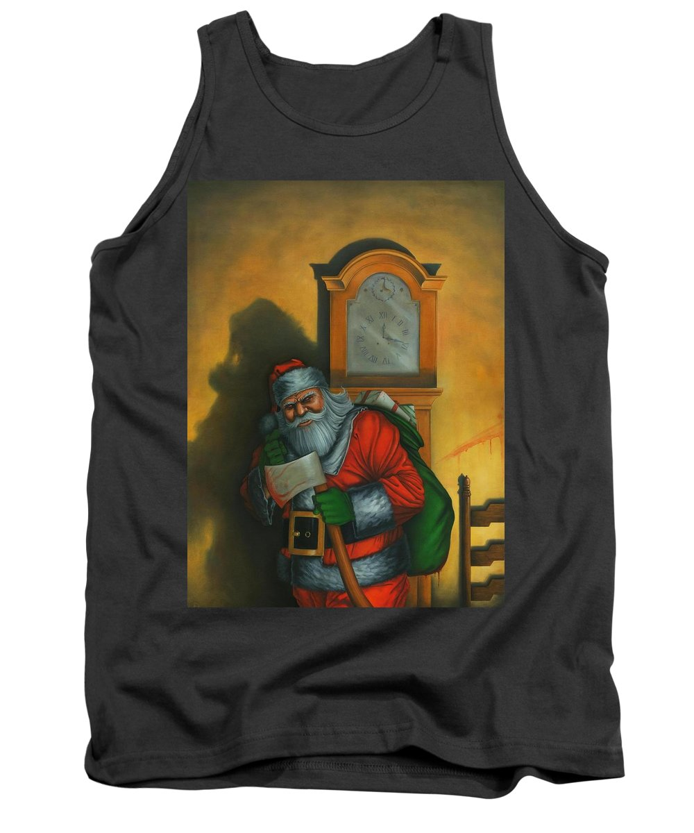 Horror Tank Top featuring the painting Here Comes Santa Claus by Stacy Drum