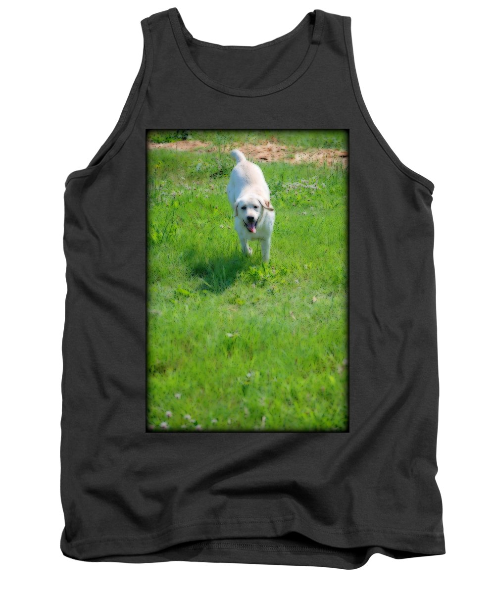 Dog Tank Top featuring the digital art Here I Come by Kathy Sampson