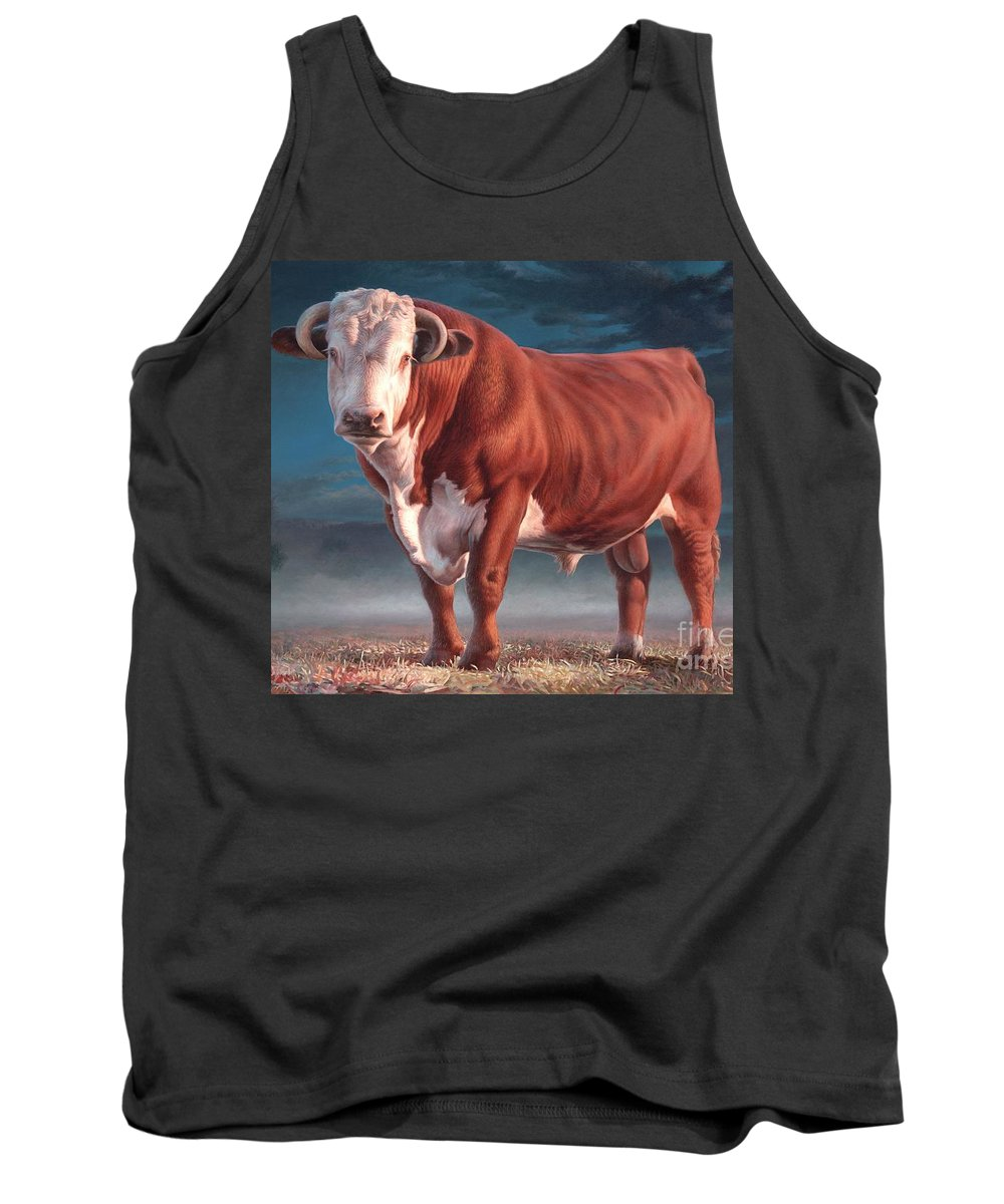 Hereford Bull Tank Top featuring the painting Hereford Bull by Hans Droog