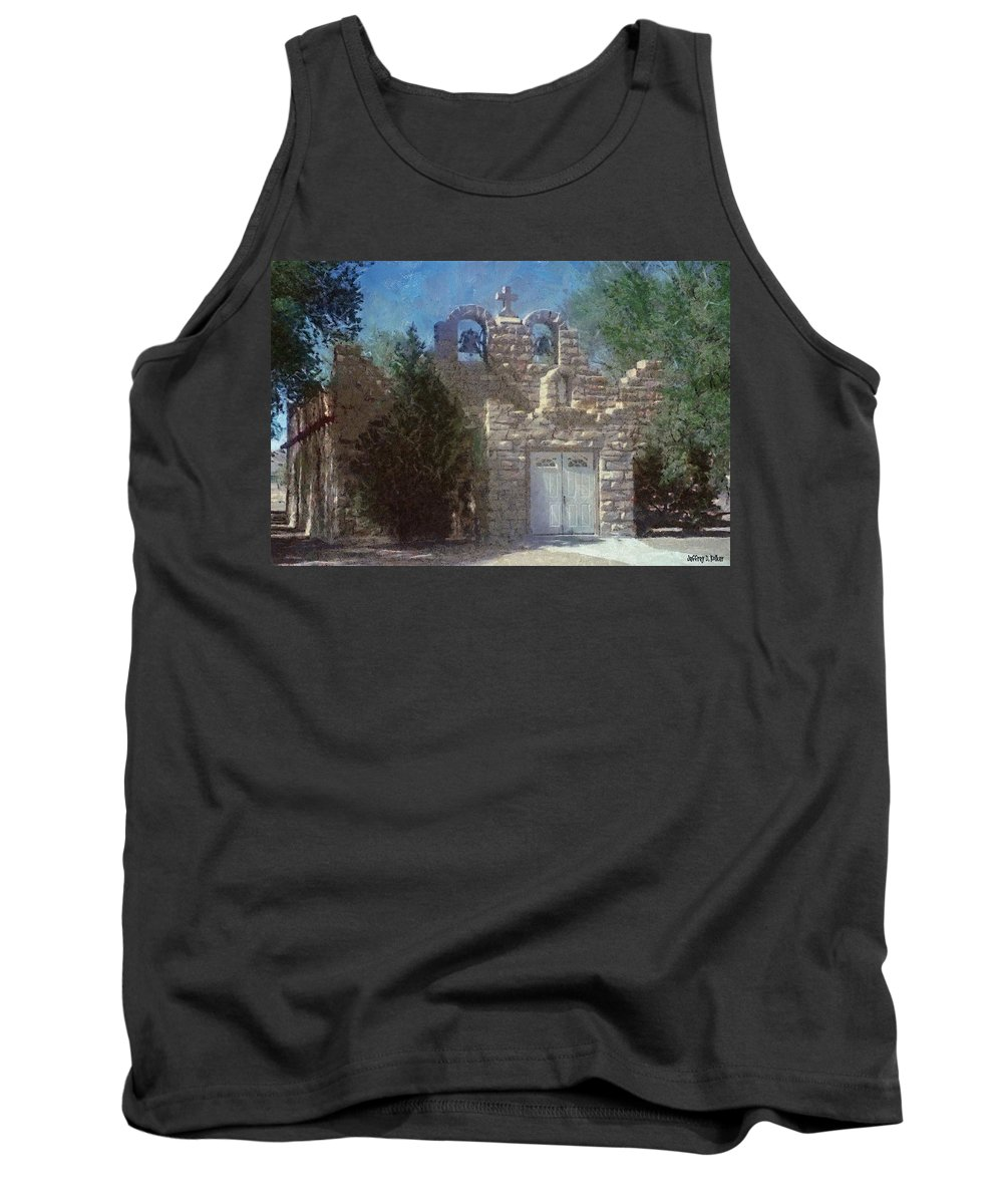 Architecture Tank Top featuring the painting High Desert Church by Jeffrey Kolker