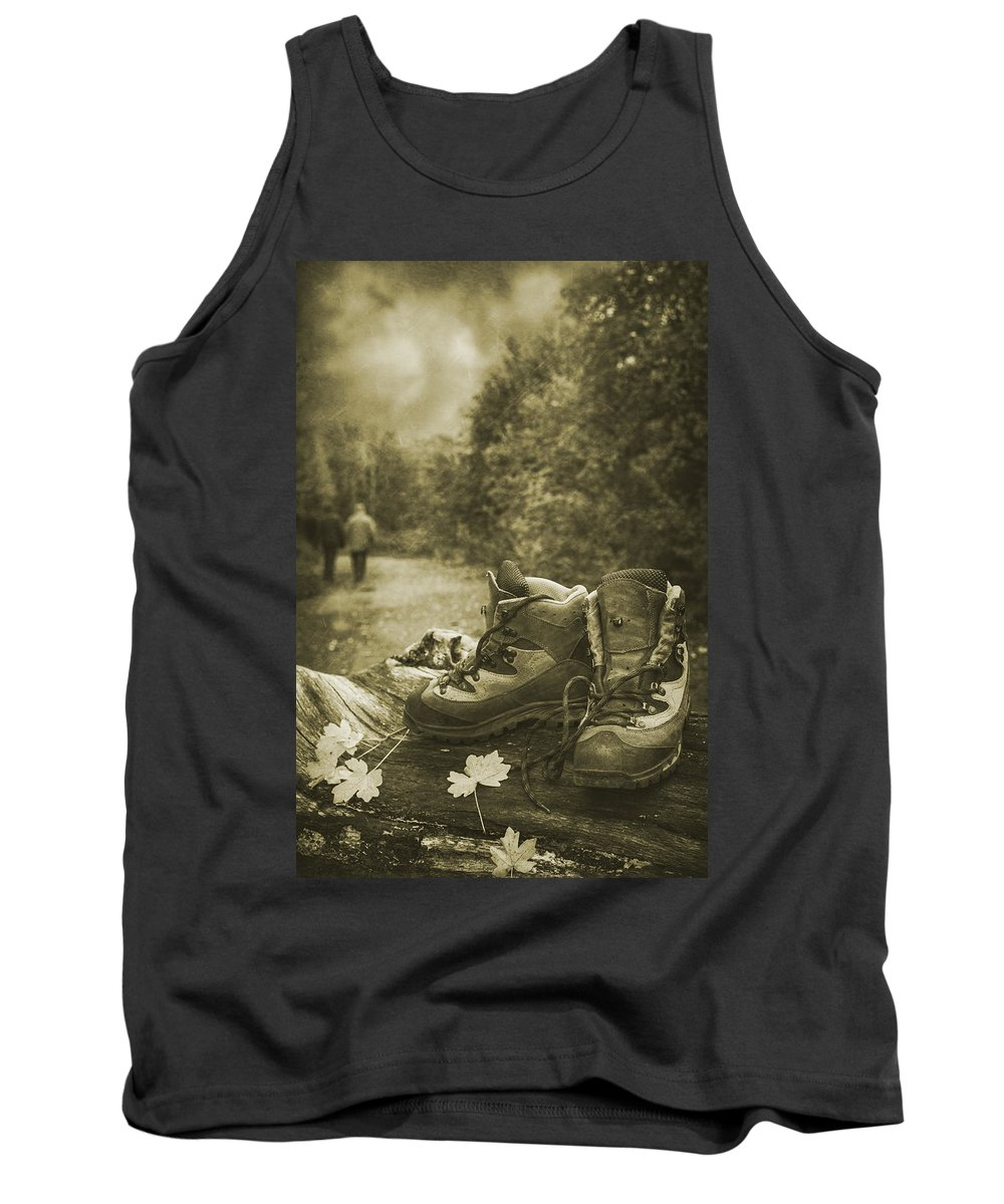 Hiking Tank Top featuring the photograph Hiking Boots by Amanda Elwell