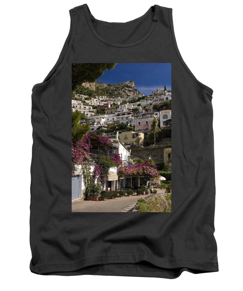 Town Built On Steep Cliff Tank Top featuring the photograph Hillside Positano by Sally Weigand