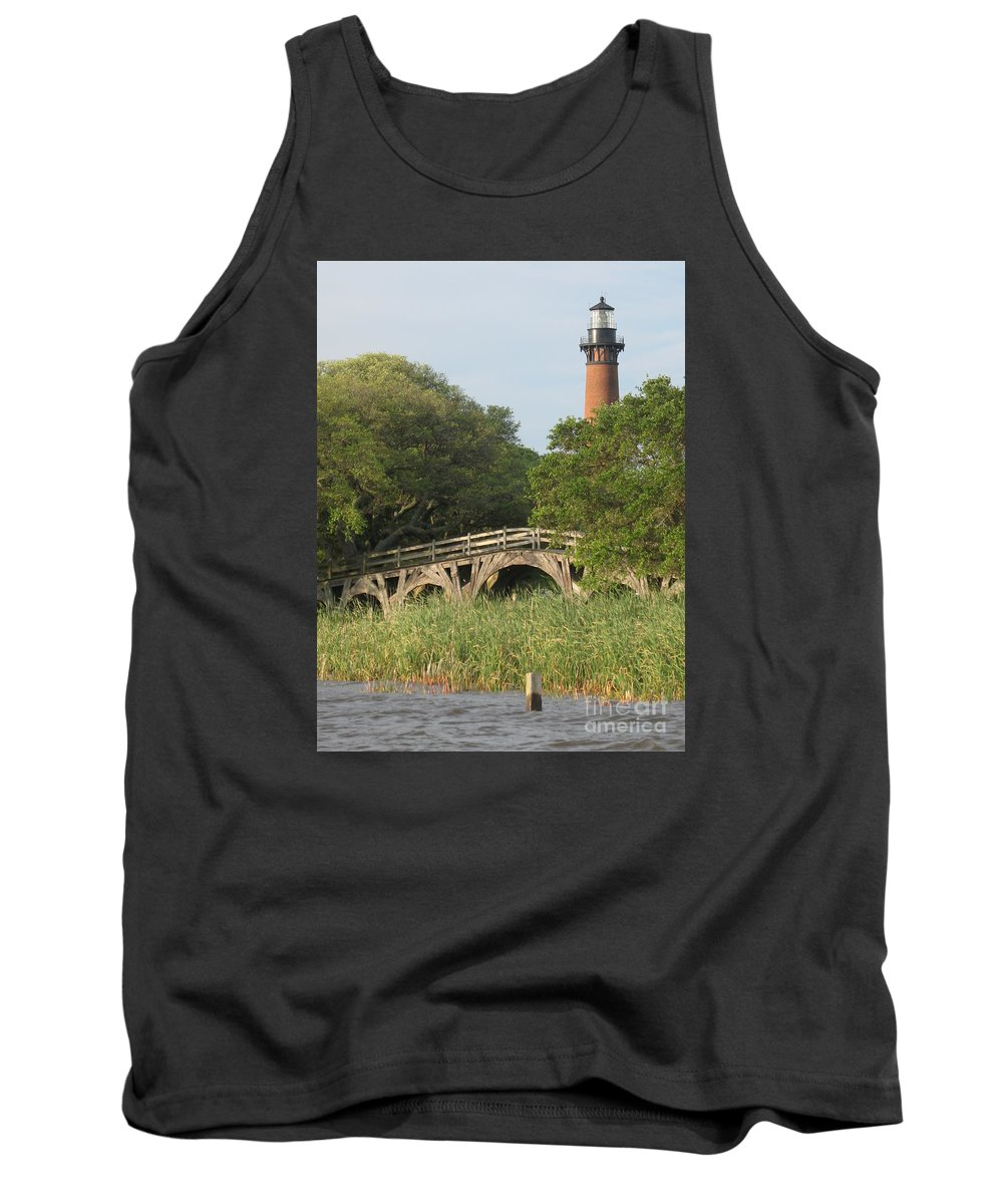 Lighthouse Tank Top featuring the photograph Historic Bridge And Currituck Light by Christiane Schulze Art And Photography