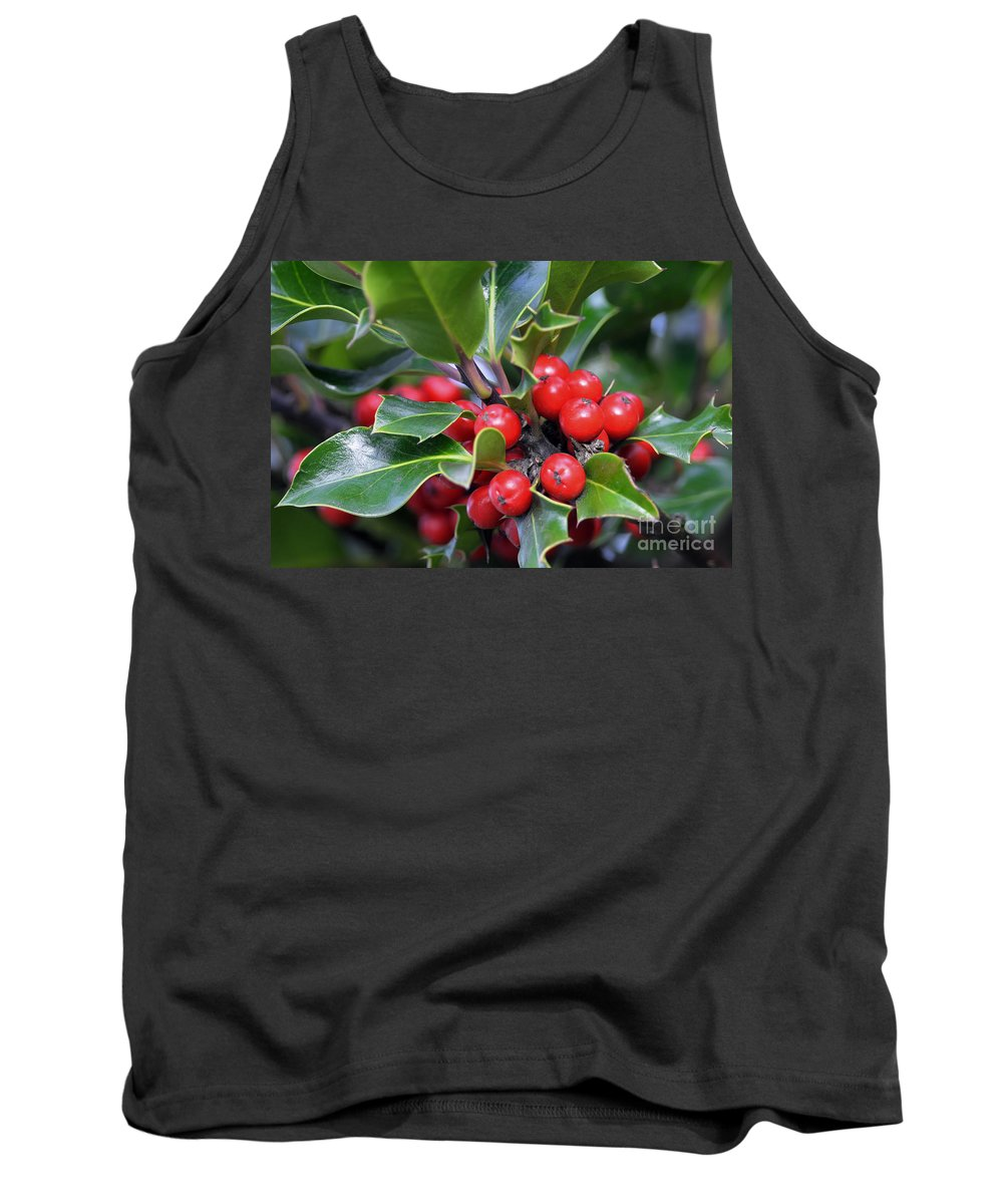Holly Berries Tank Top featuring the photograph Holly Berries 2 by Sharon Talson