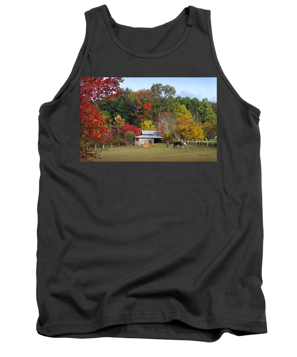 Duane Mccullough Tank Top featuring the photograph Horse And Barn In The Fall 3 by Duane McCullough