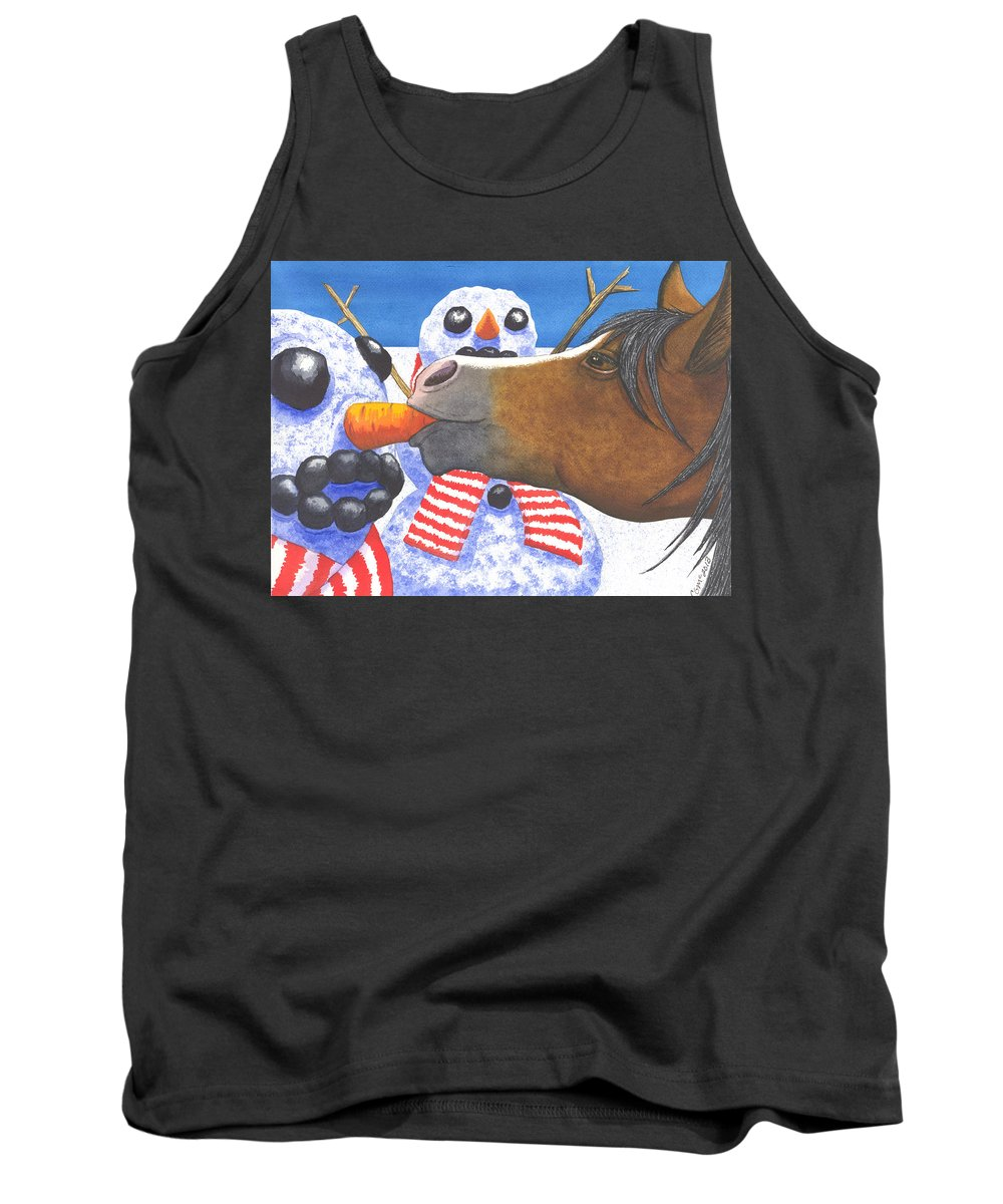 Snowman Tank Top featuring the painting Horse Got Your Nose by Catherine G McElroy
