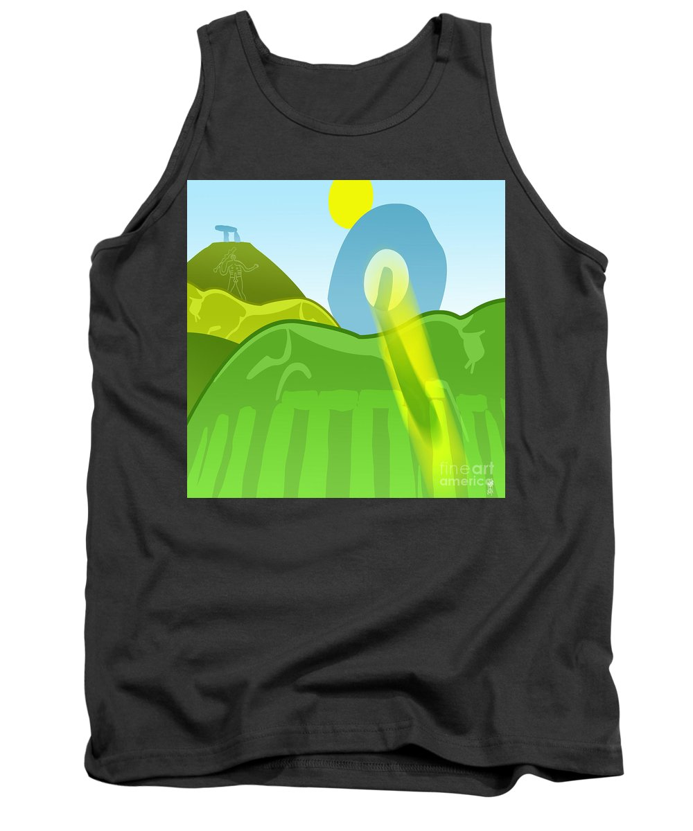 Ancient Tank Top featuring the digital art Horse Hills by Neil Finnemore