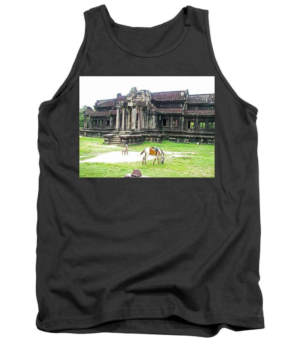 Horse In Front Of Outer Building Of Angkor Wat In Angkor Wat Archeological Park Near Siem Reap Tank Top featuring the photograph Horse In Front Of Outer Building In Angkor Wat In Angkin Angkor Wat Archeological Park-cambodia by Ruth Hager